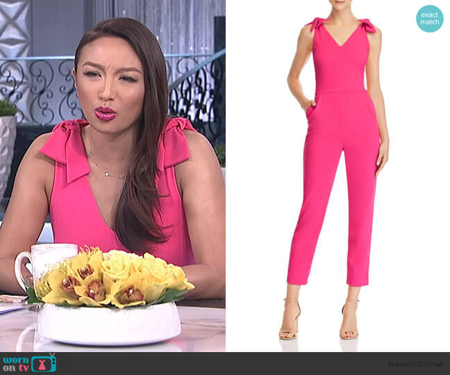 Bow Detail Jumpsuit by Aqua worn by Jeannie Mai  on The Real