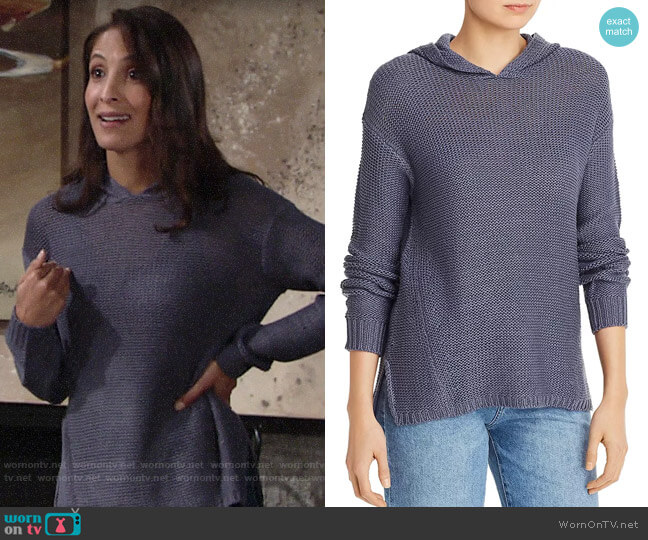 Aqua High/Low Hooded Sweater worn by Lily Winters (Christel Khalil) on The Young & the Restless