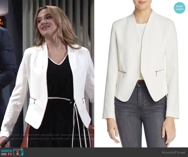 Aqua Zip Pocket Blazer worn by Summer Newman (Hunter King) on The Young & the Restless