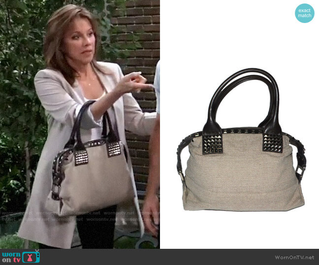 Armani Exchange Studded Bag worn by Alexis Davis (Nancy Lee Grahn) on General Hospital