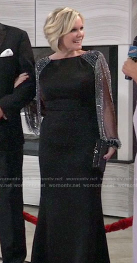 Ava's black Nurse's Ball gown with fringed sleeves on General Hospital