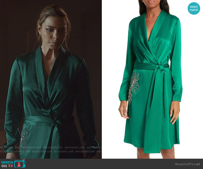 aneiro Satin Wrap Dress by BA&SH worn by Chloe Decker (Lauren German) on Lucifer