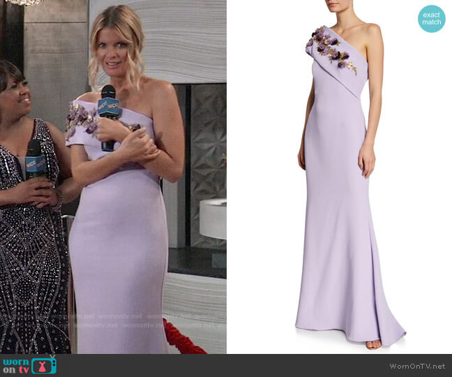 Badgley Mischka Collection One-Shoulder Gown w/ Embellished Flower Sash Detail worn by Nina Reeves (Michelle Stafford) on General Hospital