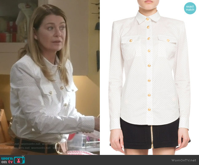 Dotted Poplin Long-Sleeve Button-Down Blouse by Balmain worn by Meredith Grey (Ellen Pompeo) on Greys Anatomy
