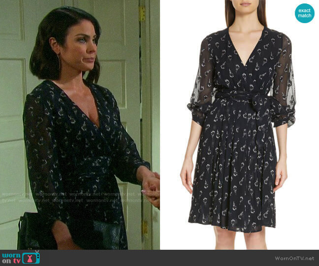 ba&sh Memory Floral Silk Chiffon Dress worn by Chloe Lane (Nadia Bjorlin) on Days of our Lives