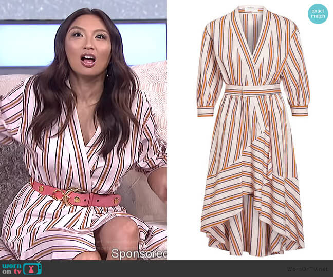 Nastasia Striped Wrap Dress by Ba&sh worn by Jeannie Mai  on The Real