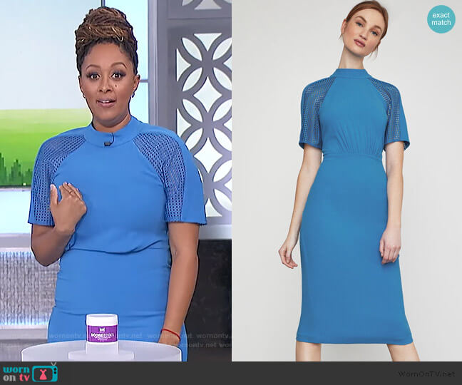 Lace Inset Sheath Dress by BCBGMAXAZRIA worn by Tamera Mowry  on The Real