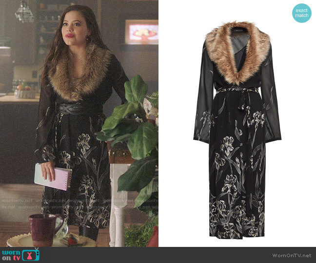 Bcbgmaxazria Metallic Floral Print Robe Dress worn by Maggie Vera (Sarah Jeffery) on Charmed