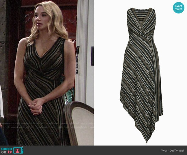 Bcbgmaxazria Asymmetrical Faux-Wrap Dress worn by Summer Newman (Hunter King) on The Young & the Restless
