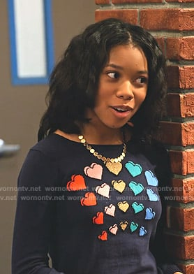 Becky's navy heart print sweater on No Good Nick