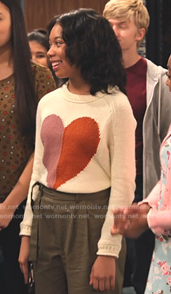 Becky's white heart sweater on No Good Nick