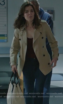 Heather's beige short trench coat on Life in Pieces