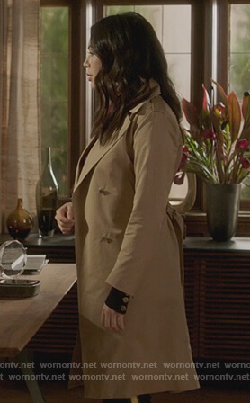 Mona's beige lace-up back coat on Pretty Little Liars The Perfectionists