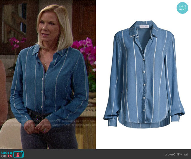 Bella Dahl Painted Stripe Shirt worn by Brooke Logan (Katherine Kelly Lang) on The Bold & the Beautiful