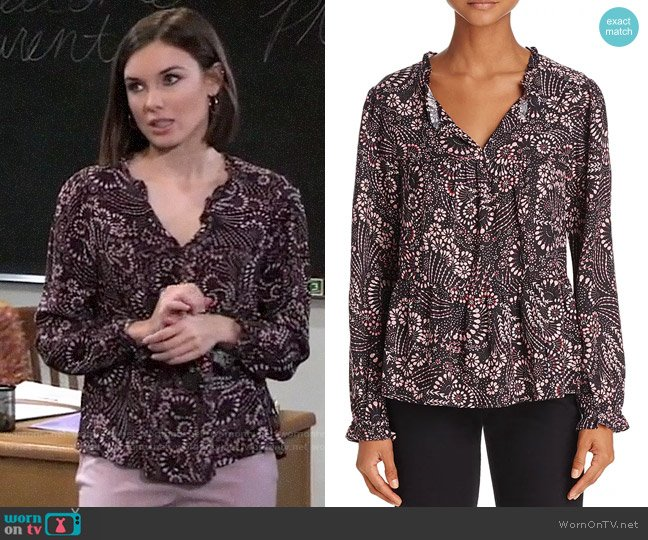 Beltaine Floral Print Blouse worn by Willow Tait (Katelyn MacMullen) on General Hospital