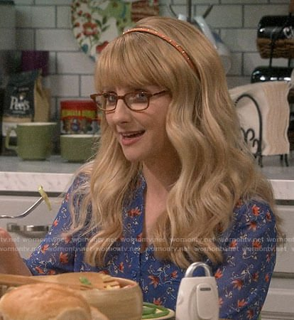 Bernadette's blue floral top on The Big Bang Theory