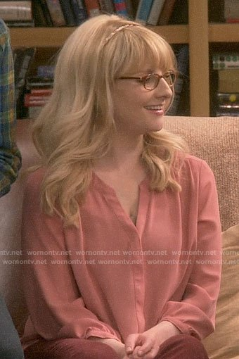 Bernadette's pink blouse on The Big Bang Theory