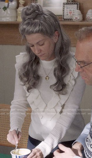 Beth's white ruffled front sweater on Veep