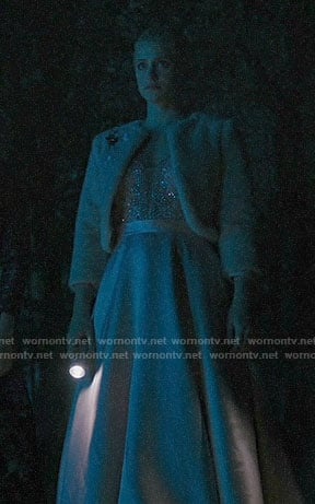 Betty's pink embellished gown and cropped fur jacket on Riverdale