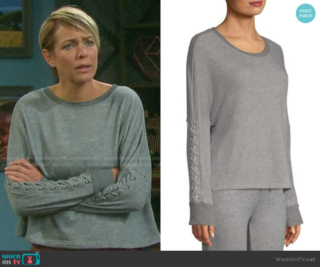 Beyond Yoga Lasso Pullover worn by Nicole Walker (Arianne Zucker) on Days of our Lives