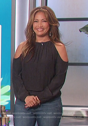 Carrie's black cold shoulder smocked top on The Talk
