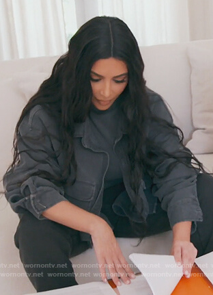 Kim's black denim jacket on Keeping Up with the Kardashians