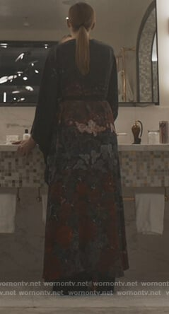 Villanelle's black floral robe on Killing Eve