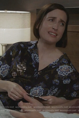 Jen's black floral pajamas on Life in Pieces