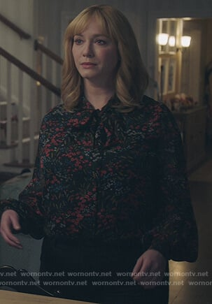 Beth's black floral tie neck blouse on Good Girls
