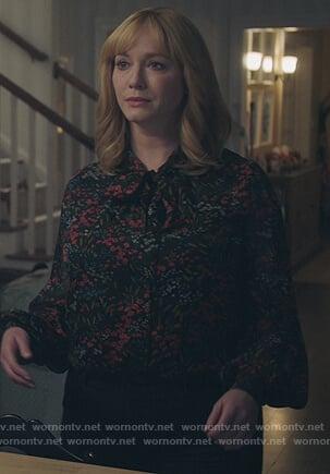 Beth's black floral tie neck blouse on Good Girls