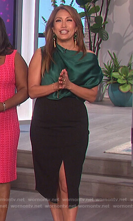 Carrie's green satin top and black skirt on The Talk