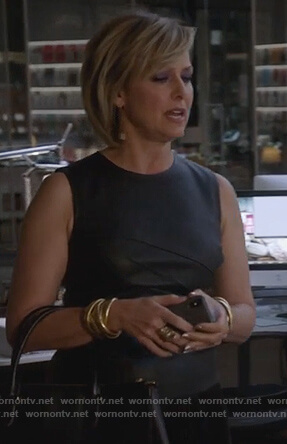 Jacqueline's black leather top on The Bold Type