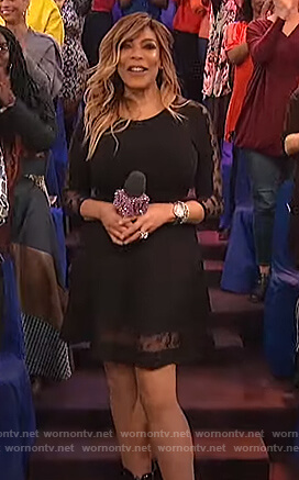 Wendy's black lace inset dress on The Wendy Williams Show