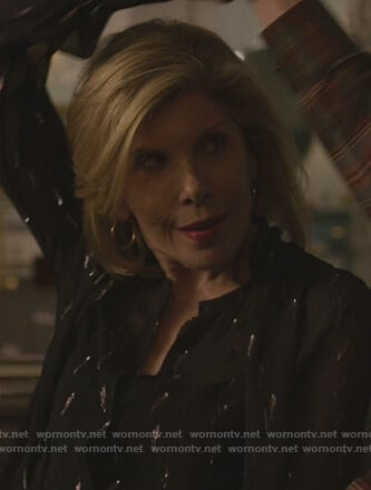 Diane's black metallic blouse on The Good Fight