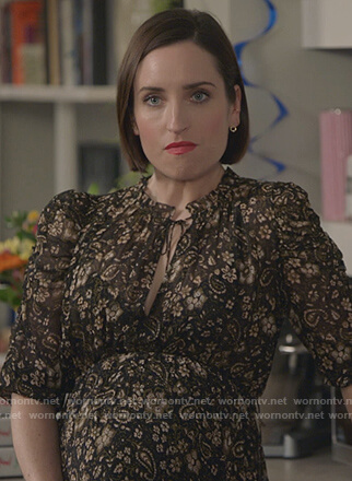 Jen's smocked paisley dress on Life in Pieces