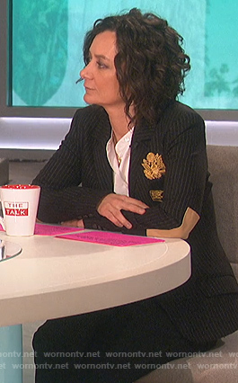 Sara's black pinstripe blazer on The Talk