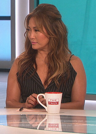 Carrie's black pinstripe top on The Talk