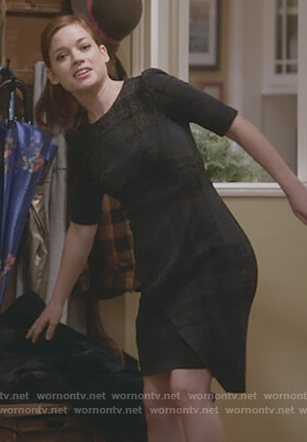 Lisa's black plaid asymmetric dress on What/If
