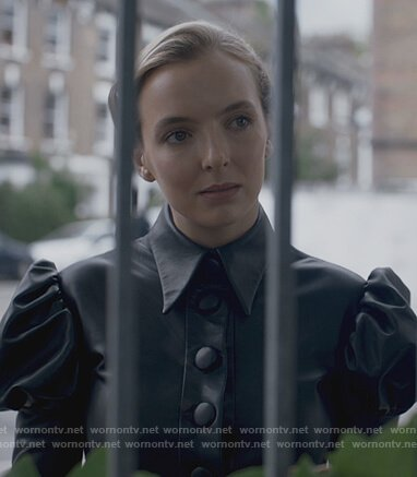 Villanelle's black leather puff blouse on Killing Eve