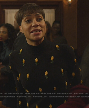 Lucca's black rose embroidered sweater on The Good Fight