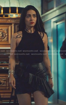 Isabelle's black leather ruffled mini skirt on Shadowhunters