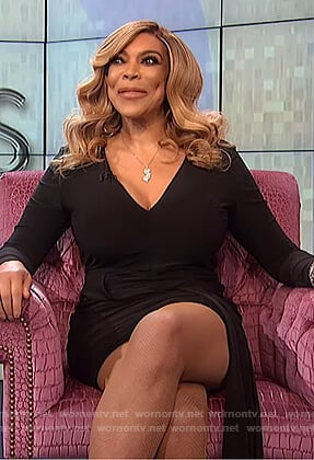 Wendy's black draped front dress on The Wendy Williams Show