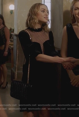 Taylor's black velvet mini dress on Pretty Little Liars The Perfectionists
