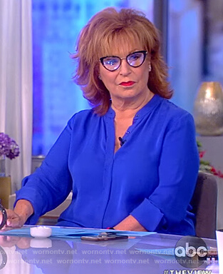 Joy's blue asymmetric blouse on The View