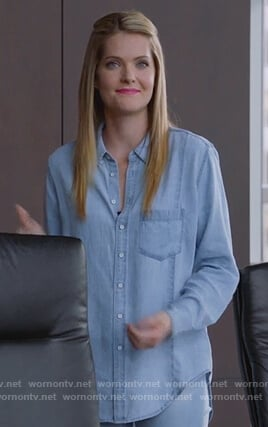 Sutton's chambray shirt on The Bold Type