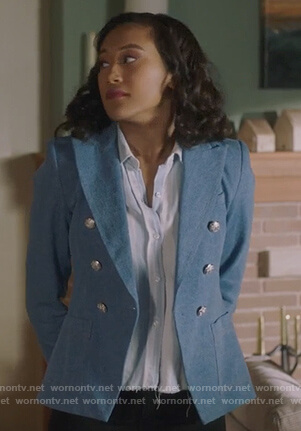 Caitlin's blue double breasted blazer and striped shirt on Pretty Little Liars The Perfectionists