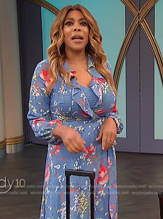 Wendy's blue floral wrap dress on The Wendy Williams Show