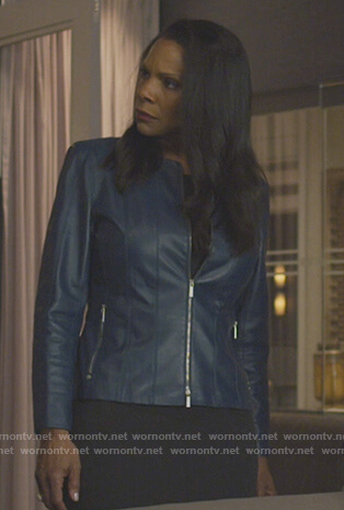Liz's blue leather jacket on The Good Fight
