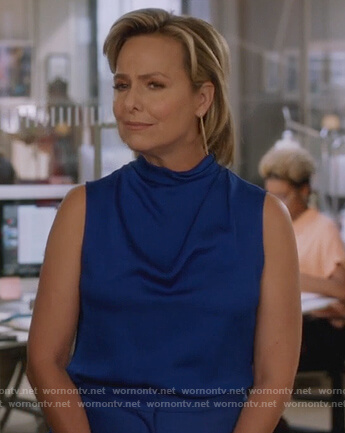 Jacqueline's blue sleeveless top on The Bold Type