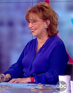 Joy's blue smocked sleeve blouse on The View